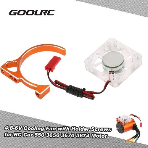 Original-GoolRC 4.8-6V Lüfter mit Halter-Anschluss Schrauben für RC Car 550 3650 3670 3674 Motor