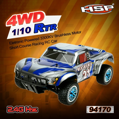 Original HSP 94170PRO 1/10 4WD Eletronic Powered Brushless Motor RTR Short Course Racing RC Car & 2,4 GHz Transmitter