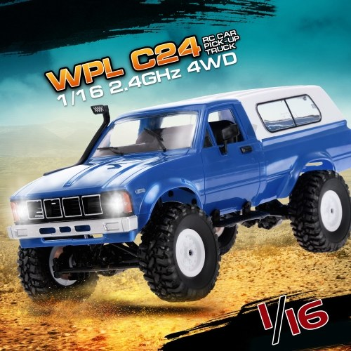 WPL C24 1/16 2.4GHz 4WD RC Car With Headlight Remote Control Crawler Off-road Pick-up Truck RTR Toy