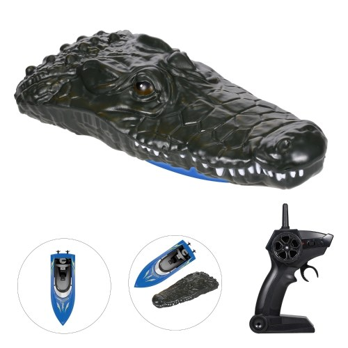 Simulation Crocodile Head Electric Racing Boat 10KM/H High Speed 2 Channels Remote Control Boats for Pools Spoof Toy