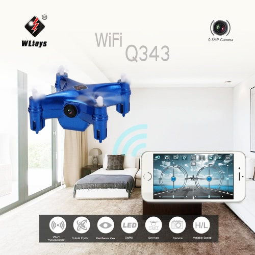 Original WLtoys Q343 WiFi FPV Mini RC Quadcopter with 0.3MP Camera and Barometer Set Height  Drone Controlled by   Smartphone