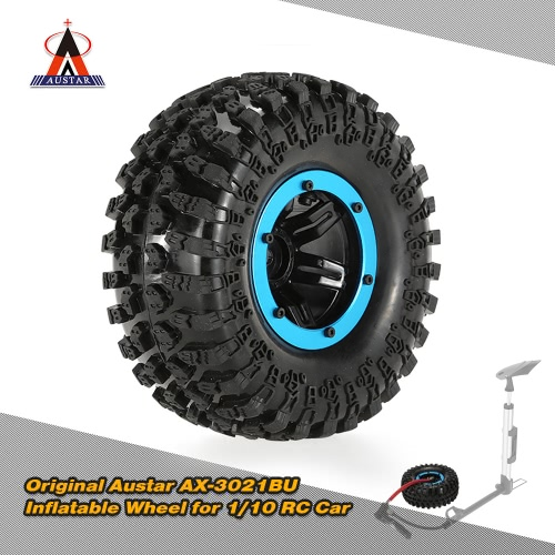 Original Austar AX-3021BU Air Pneumatic Beadlock Wheel Rim and Tire for for 1/10 RC4WD D90 Axial SCX10 Crawler Truck