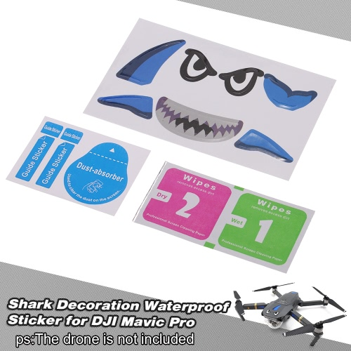 Shark Decoration Waterproof Decal Sticker Skin for DJI Mavic Pro FPV Drone