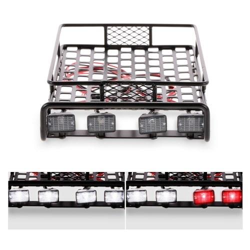 Portaequipajes portaequipajes con barra de luces cuadrada para 1/10 RC Crawler Axial SCX10 D90 110 Traxxas TRX-4 Tamiya HSP RC Piezas de automóviles