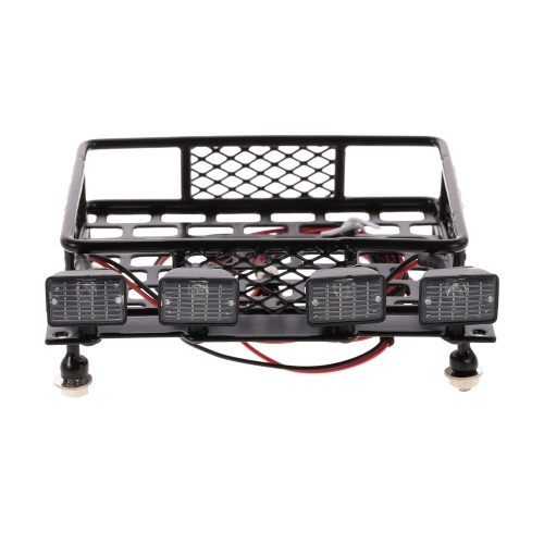 Roof Rack Luggage Carrier with Square Light Bar for 1/10 RC Crawler Axial SCX10 D90 110 Traxxas TRX-4 Tamiya HSP RC Car Parts