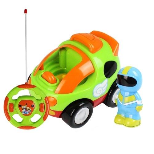 Carro de corrida dos desenhos animados de RC com música e luzes brinquedo de controle elétrico de rádio