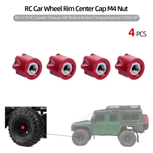 4 pz RC Auto Wheel Rim Center Cap M4 Dado Metallo per 1/10 RC Crawler Traxxas HSP Redcat Rc4wd Tamiya Axial scx10 D90 HPI