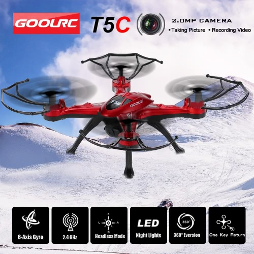 GoolRC T5C 2.4GHz 4CH 6-axis Gyro 2.0MP HD Camera RC Quadcopter with One Key Return CF Mode 360° Eversion Function