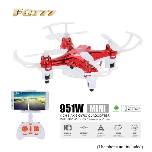 FQ777 951W 2.4G 4CH 6-Axis Gyro 0.3MP Camera WiFi FPV RTF RC Quadcopter with Headless Mode 3D-flip Function