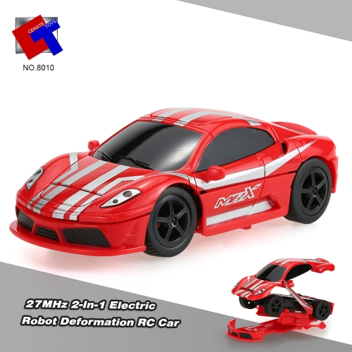 Create Toys NO.8010 Mini Flashing 2-In-1 Electric Robot RC Car 40MHz