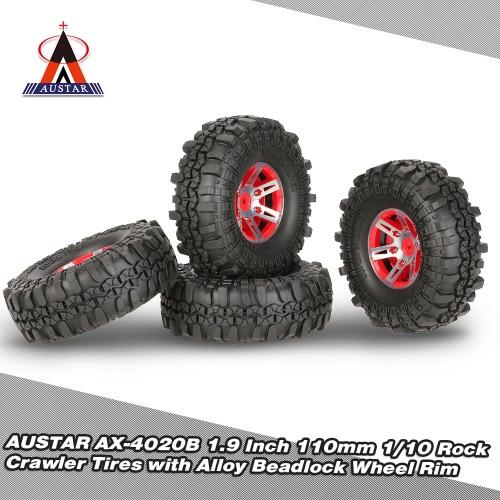 4 Stücke AUSTAR AX-4020B 1,9 Zoll 110mm 1/10 Rock Crawler Reifen mit Alloy Beadlock Felge für D90 SCX10 AXIAL RC4WD TF2 RC Auto