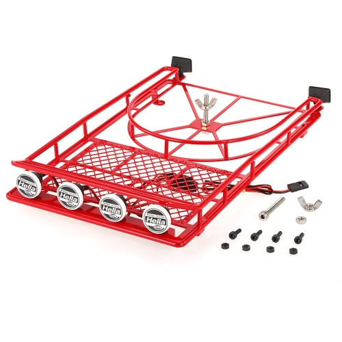 AUSTAR AX518SR Metal Roof luggage Rack with Spare Tire Holder & LED light for 1/10 RC SCX10 90046 D90 Crawler Car