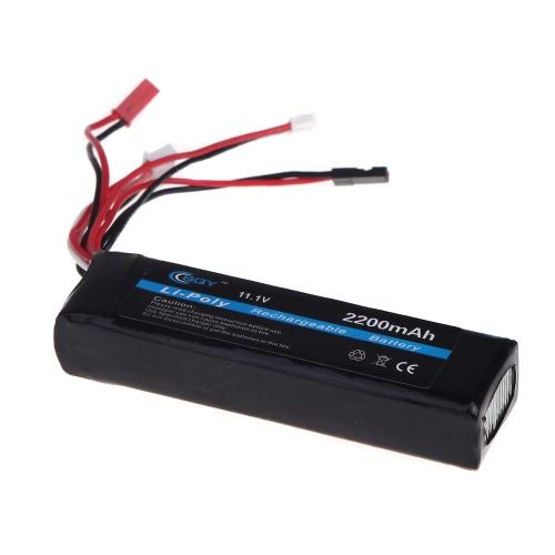 BQY transmisor batería LiPo 11.1V 2200mAh 3 conector para batería de transmisor de JR Futaba Walkera WFLY FS (transmisor batería LiPo 11.1v 2200mah)