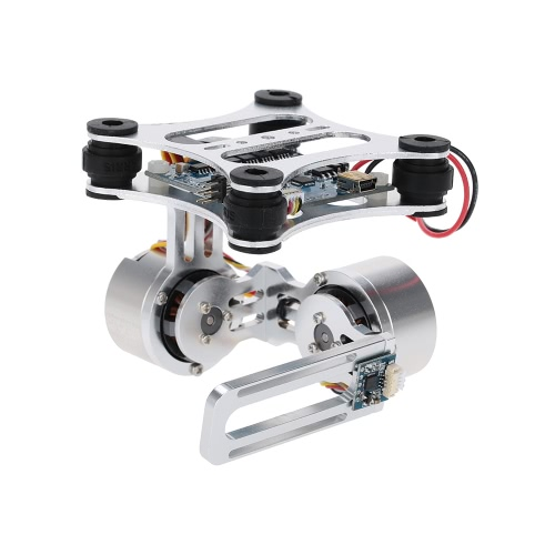 GoolRC Silver CNC FPV Quadcopter BGC 2 Axis Brushless Gimbal w/ Controller for GoPro 3 Camera DJI Phantom 1 2 Walkera X350 Pro