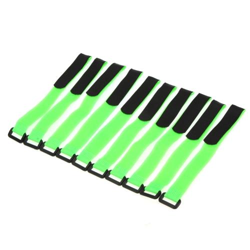 10 Pcs batterie RC forte câble antidérapant arrimage sangles 26 * 2cm vert