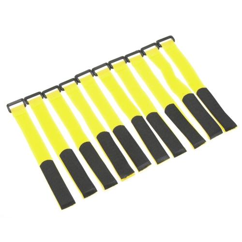 10 Pcs batterie RC forte câble antidérapant arrimage sangles 26 * 2cm jaune