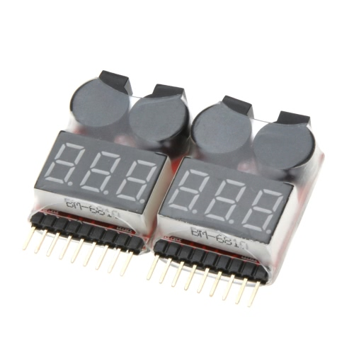 2Pcs 1-8S Indicador RC Li-ion Lipo Battery Tester Low Voltage Buzzer Alarm