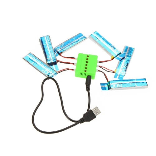 Super Fly Sets X6 Charger with 6Pcs 3.7V 520mAh Lipo Battery for Wltoys V977 V930 Helicopter Airplane