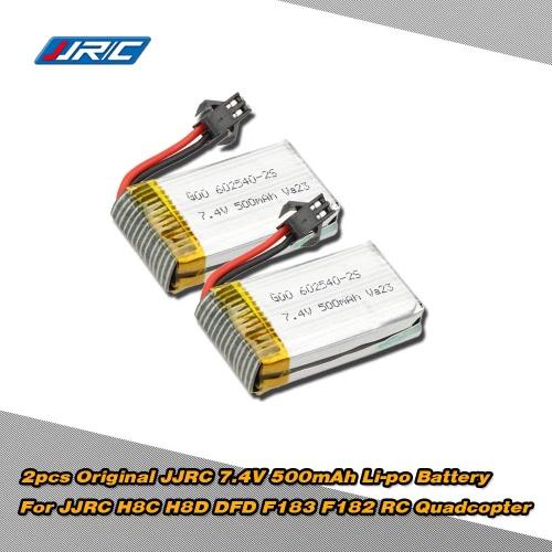 2pcs Original JJRC H8C-10 Battery 7.4V 500mAh Li-po Battery for JJRC H8C H8D DFD F183 F182 RC Quadcopter