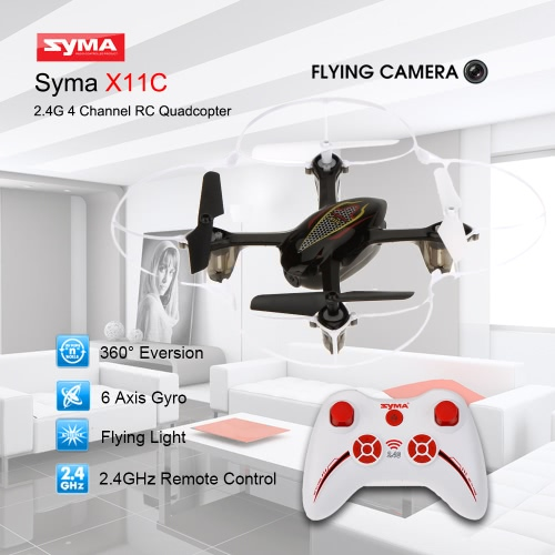 Syma X11C 2.4G 4-Channel 6-Axis Gyro RTF RC Quadcopter with 2.0MP HD Camera and 2G Mini SD Card