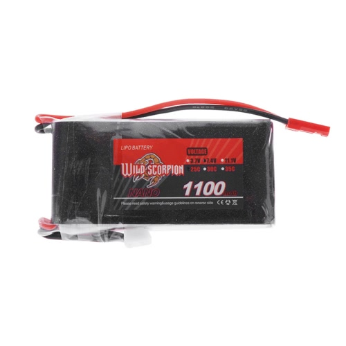 Wild Scorpion 7.4V 1100mAh 25C MAX 35C 2S JST Plug Li-po Battery for RC Car Airplane Blade CX Helicopter Part