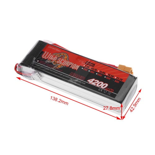 Wild Scorpion 11.1V 4200mAh 60C MAX 70C 3S XT60 Plug Li-po Battery for RC Car Airplane Helicopter Part
