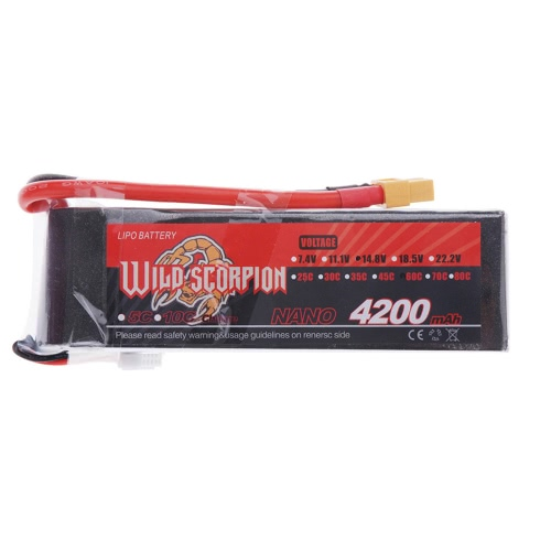 Wild Scorpion 14.8V 4200mAh 60C MAX 70C 4S XT60 Plug Li-po Battery for RC Car Airplane Helicopter Part