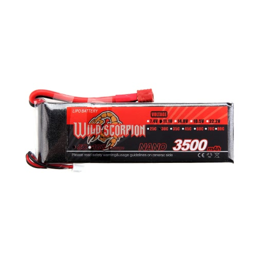 Wild Scorpion 11.1V 3500mAh 30C MAX 40C 3S T Plug Li-po Battery for RC Car Airplane Helicopter Part