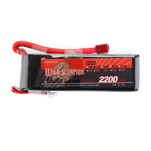 Wild Scorpion 11.1V 2200mAh 35C MAX 45C 3S T Plug Li-po Battery for RC Car Airplane T-REX 450 Helicopter Part