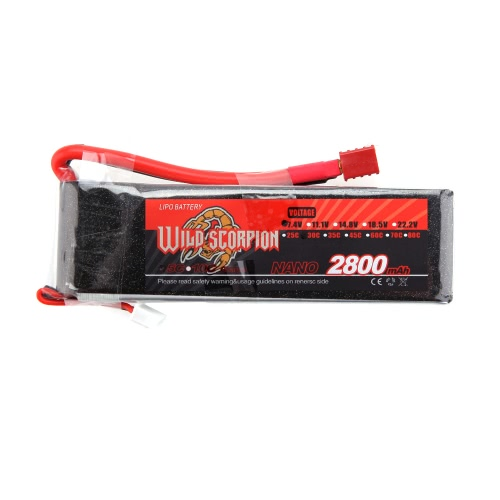 Wild Scorpion 7.4V 2800mAh 30C MAX 40C 2S T Plug Li-po Battery for RC Car Airplane Helicopter Part
