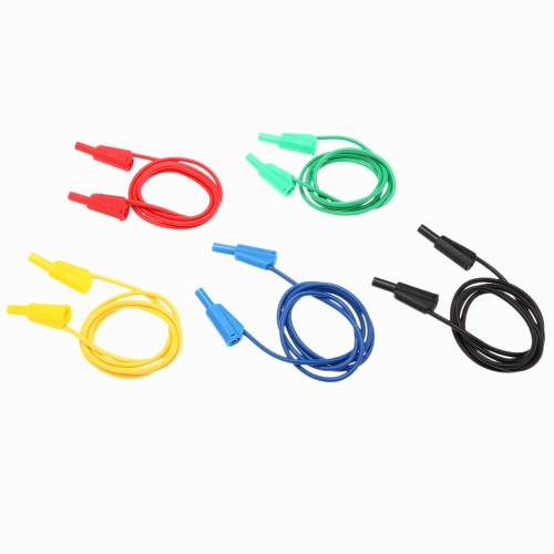 GoolRC 5Pcs Couleurs Respectives Fermé 3mm Anti-statique Jack Homme Banana Clips 1m de Câble en Silicone Test
