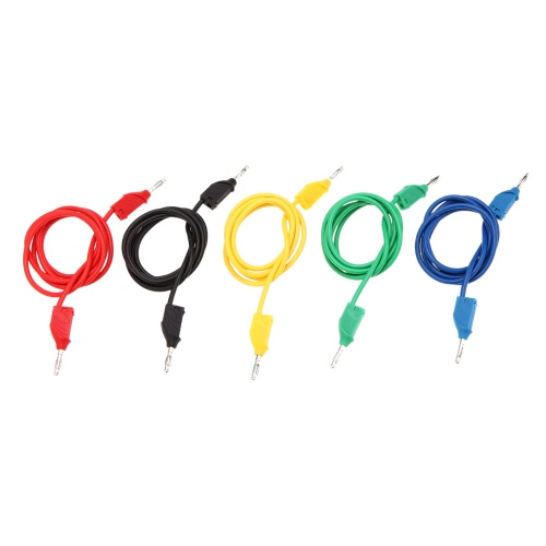GoolRC Universial 5 Colors Closed Anti-static 3mm Jack Male Banana Clip to Jack Male Banana Clip 1m Silicone Test Supportive Cable