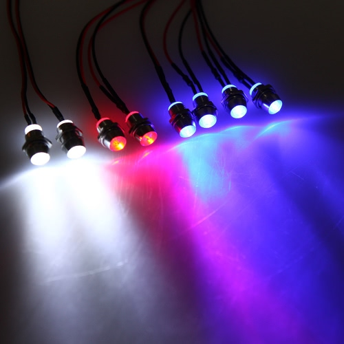GoolRC Upgrade Parts 5mm Azul Blanco Rojo Color LED Faros Luces traseras Luz intermitente Set para HSP RC Cars