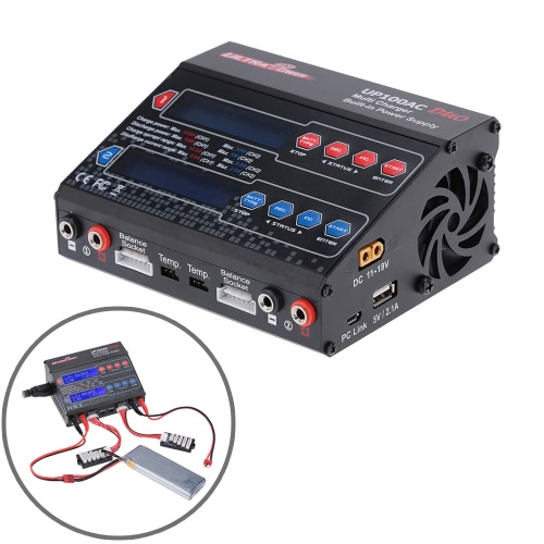 Ultra Power UP100AC DUO 100W LiIo/LiPo/LiFe/NiMH/NiCD batteria equilibrio Multi caricatore/scaricatore