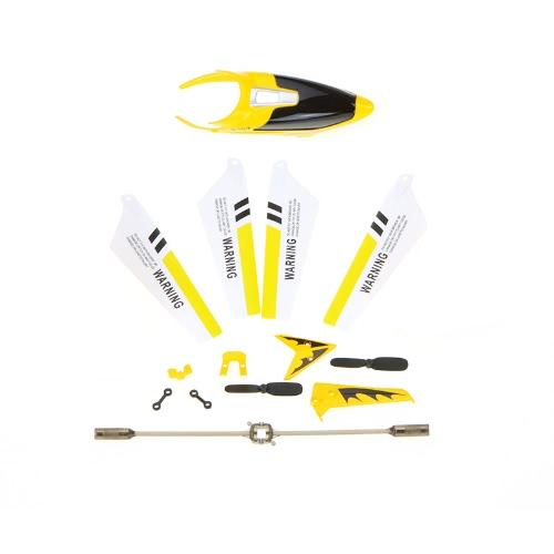 Syma Piezas de recambio completo Juego Kit de repuesto Cubierta de la cabeza Lámina principal Balance Balance Etc para Syma S107G RC Helicóptero Amarillo