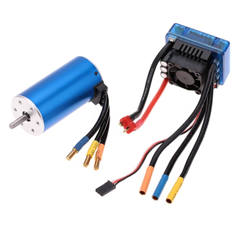 3670 1900KV 4P Sensorless Brushless Motor with 120A Brushless ESC(Electric Speed Controller)for 1/8 1/10 RC Auto Car Truck