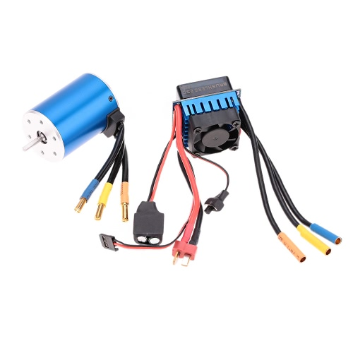 3650 3100KV/4P Sensorless Brushless Motor con Brushless ESC 60A (regulador eléctrico) para carro de coche RC 1/10