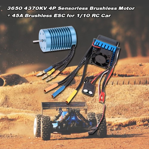 3650 4370KV 4P Sensorless bezszczotkowy ze 45A Brushless ESC (Electric Regulator obrotów) na 1/10 RC samochód terenowy