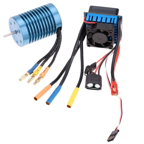 3650 4370KV 4P Sensorless Brushless Motor with 45A Brushless ESC(Electric Speed Controller)for 1/10 RC Off-Road Car