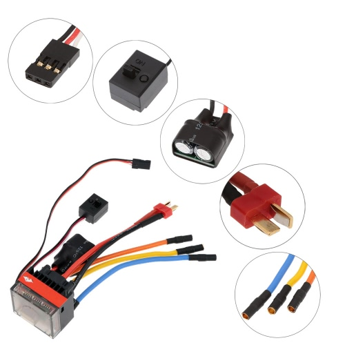 FVT Wolf 2-3s LiPo Battery 35A Pro A High Voltage Waterproof Car Brushless Car Electronic Speed Controller ESC with Switch Mode 6V/2A BEC for 1/10 RC Racing Cars 1/16 RC Cars