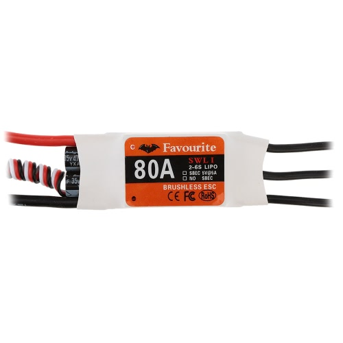 Favourite Sea Swallow 80A 2-6S LiPo Battery Brushless Motor Electronic Speed Controller ESC with 5V/5A Swwitch Mode BEC for Airplane Fixed Wing