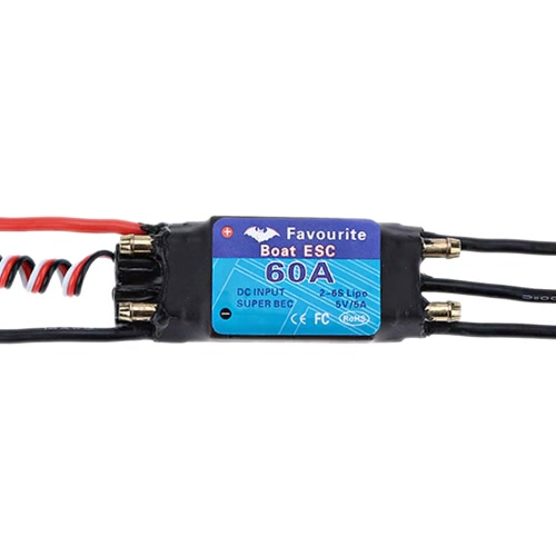 Favourite Shark Series 60A 2-6S LiPo Battery Waterproof Brushless Motor Electronic Speed Controller ESC with 5V/5A Switch Mode SBEC for RC Boat Models