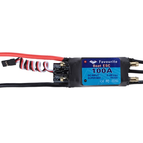 Favourite Shark Series 100A 2-6S LiPo Battery Waterproof Brushless Motor Electronic Speed Controller ESC with 5V/5A Switch Mode SBEC for RC Boat Models