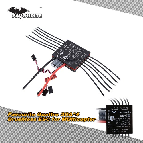 Favourite Eagle Series Sky 3 Quattro Four in One 30A*4  2-6S LiPo Battery Brushless Motor Electronic Speed Controller ESC with 5.3V/3A Switch mode SBEC for DIY RC F450 F550 Quadcopter Multicopter