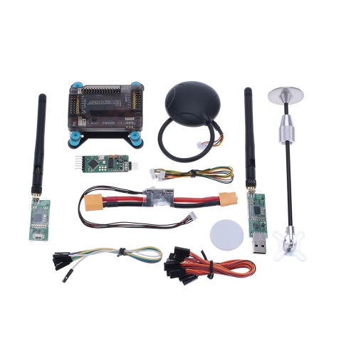 APM 2.8 V2.8 ArduPilot UAV Flight Controller & Neo-6M & GPS Antenna Foldable Stand Amount & Power Module & 915Mhz Radio Telemetry Transmision
