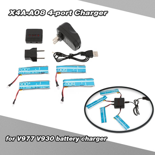 Super Fly 4-port Fast Charger Sets with 3.7V 520mAh 30C Lipo Battery for RC Helicopter WLtoys V977 V930 JJRC H37 Quadcopter