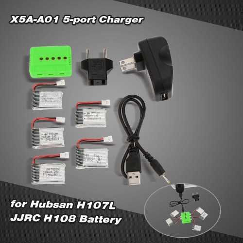 Super Fly 5-port Fast Charger Sets with 3.7V 240mAh Lipo Battery for RC Helicopter / Quadcopter Hubsan H107L H107C JJRC H108 H108C H6C JJ180 JJ1000 UDI U816 U816A
