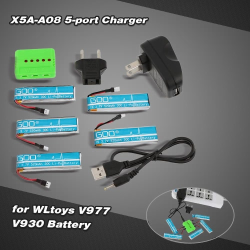 Super Fly 5-portowy Fast Charger Ustawia X5a-A08 (VA13) z 3.7V 520mAh Lipo Battery dla RC Helicopter WLtoys V977 V930 JJRC H37 Quadcopter