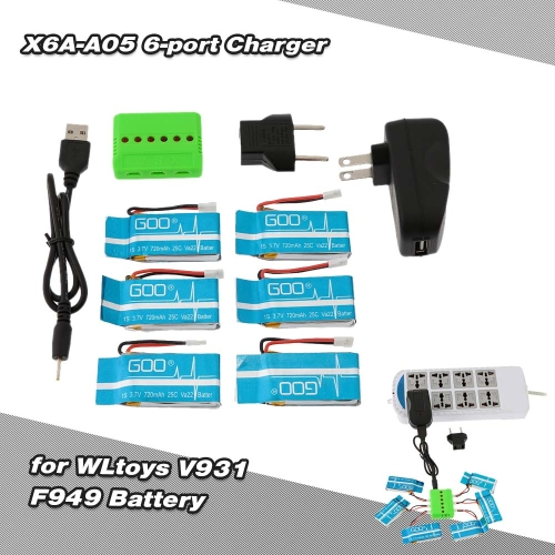 Super Fly 6-port Charger Sets X6A-A05(VA12A) 3.7V 720mAh Lipo Battery for RC Helicopter WLtoys V931 F949