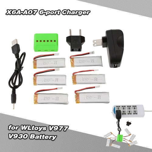 Super Fly 6-port Charger Sets X6A-A07(-006) with 3.7V 450mAh Lipo Battery for RC Helicopter WLtoys V977 V930 JJRC H37 Quadcopter